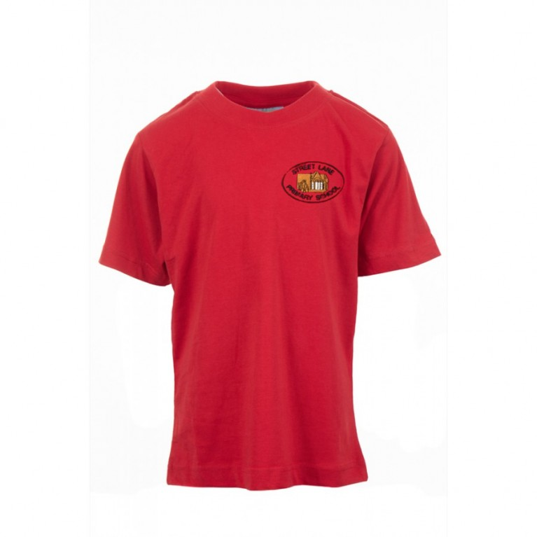 Red P.E T-Shirt - with logo