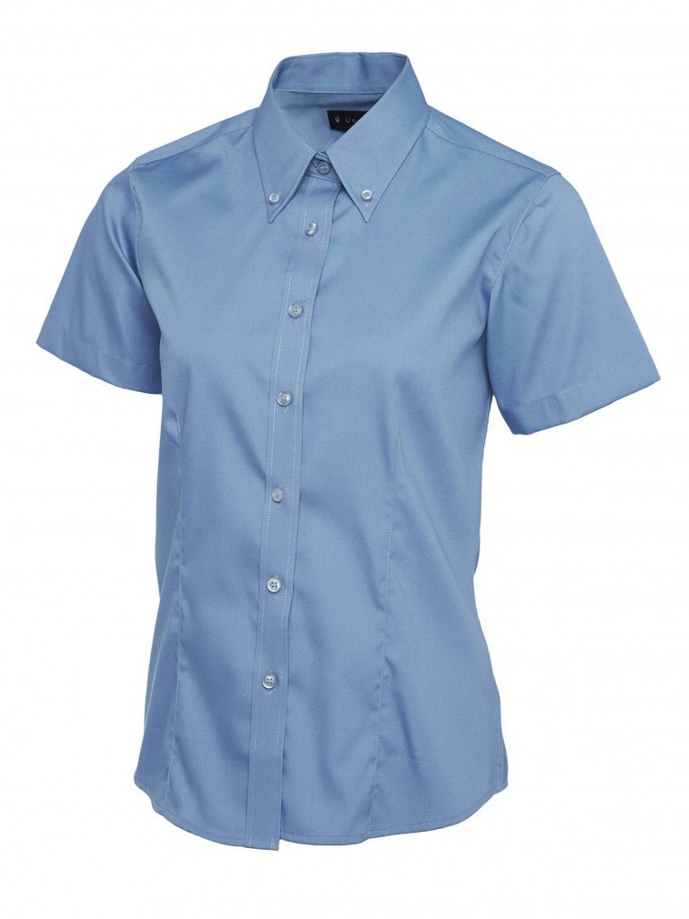Ladies Short Sleeve Pinpoint Oxford Shirt embroidered with school logo