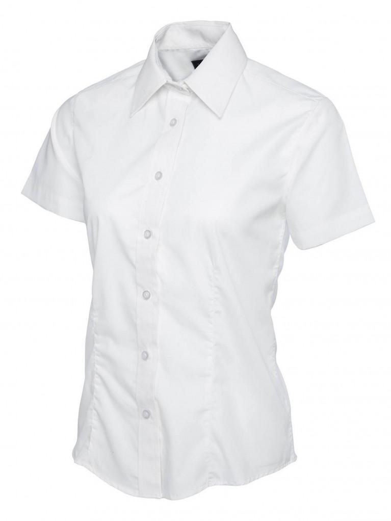 Ladies Short Sleeve Poplin Shirt embroidered with school logo