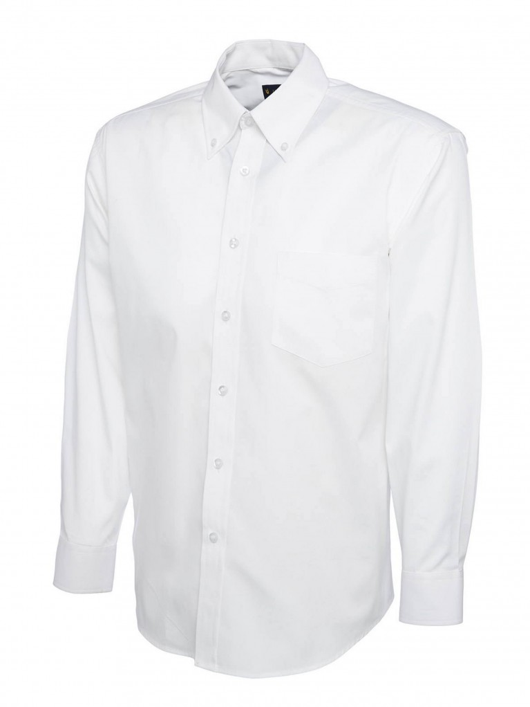 Mens Long Sleeve Pinpoint Oxford Shirt embroidered with school logo