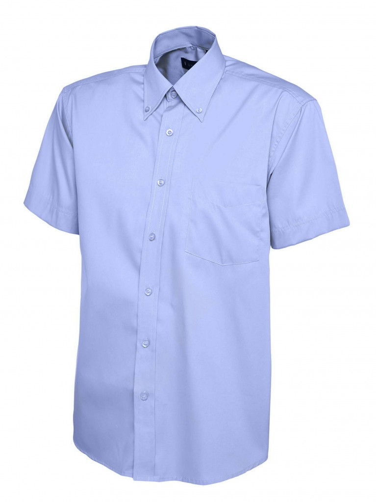 Mens Short Sleeve Pinpoint Oxford Shirt embroidered with school logo