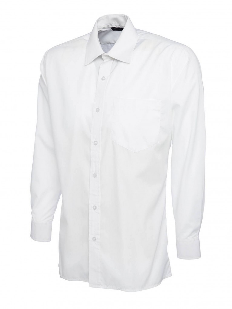 Mens Long Sleeve Poplin Shirt embroidered with school logo