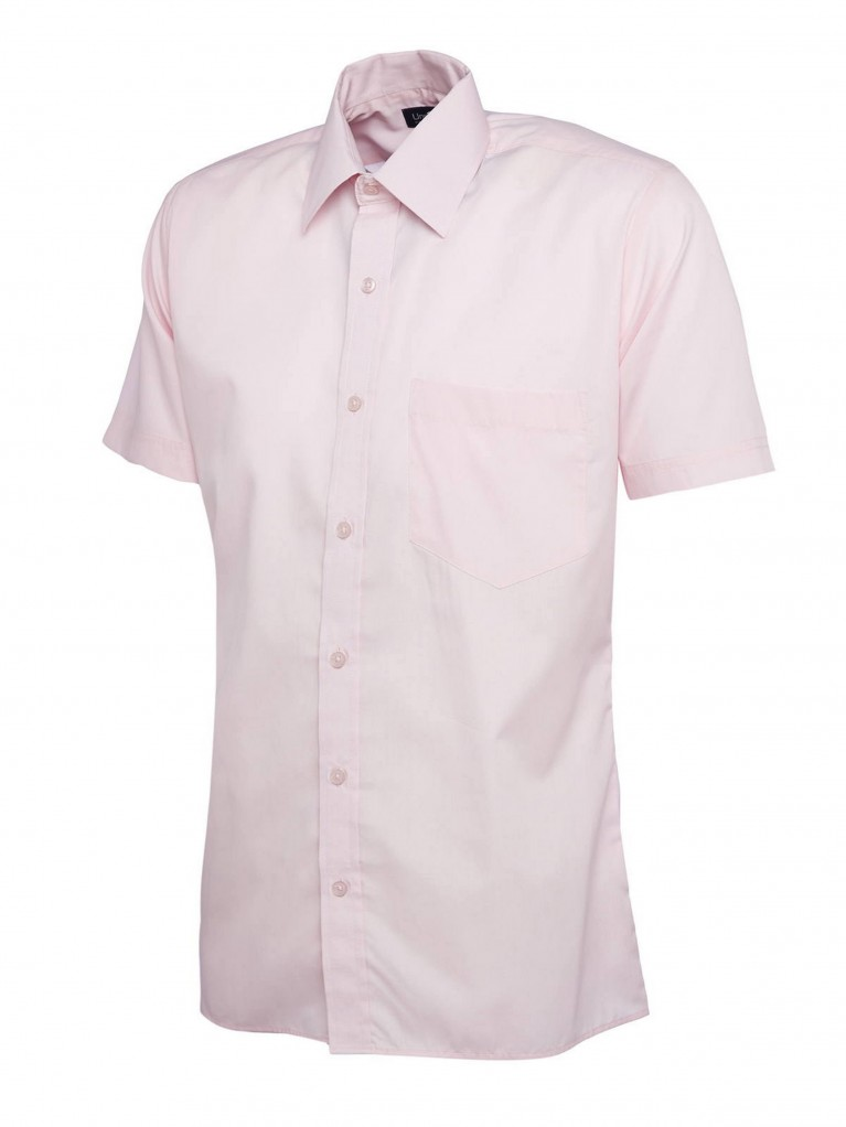 Mens Short Sleeve Poplin Shirt embroidered with school logo
