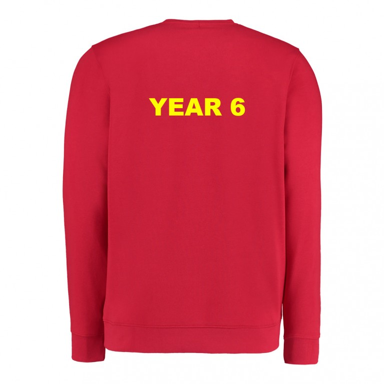 Year 6 Red Classic Crew Neck Sweatshirt