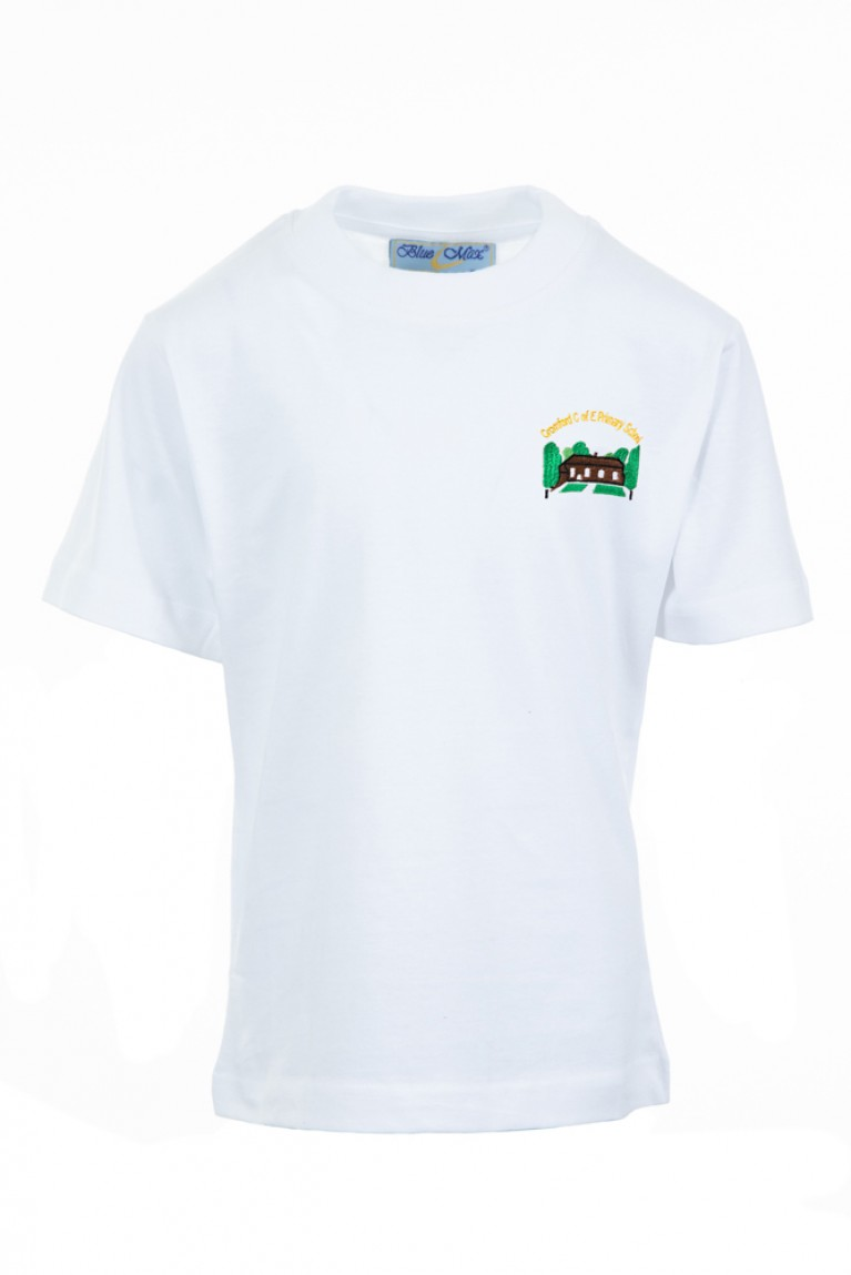White P.E T-shirt - with logo