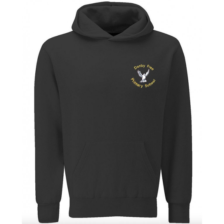 Black Pull Over P.E. Hoodie Embroidered