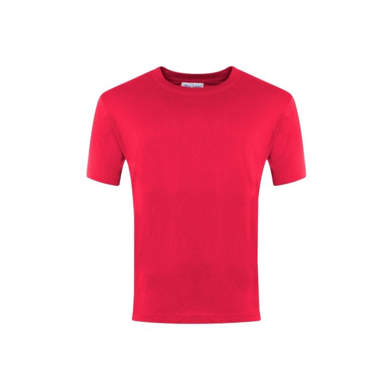 Red P.E T-Shirt with logo