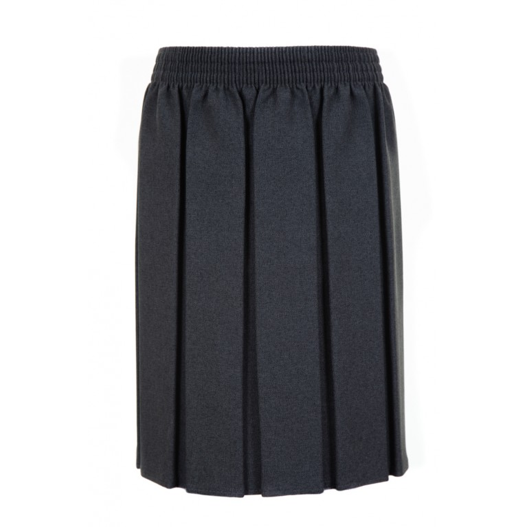 Girls Box Pleat Skirt in Grey