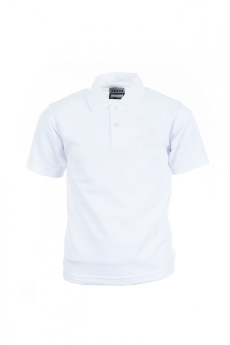 5x Zeco Plain White Heavyweight Polo Shirt Bundle