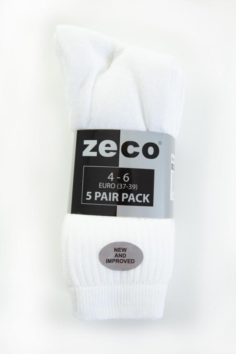 White 5 Pack Sports Socks