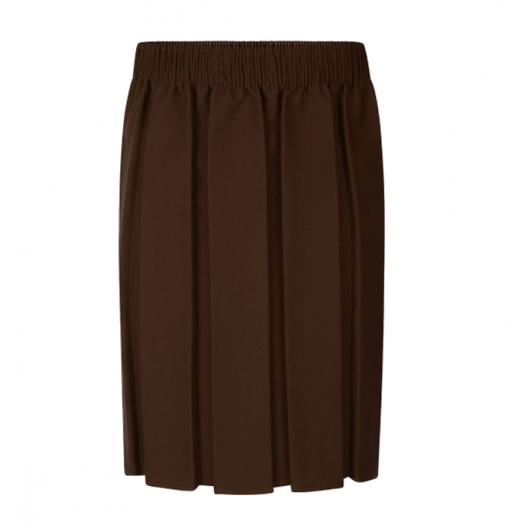 Girls Box Pleat Skirt in Brown