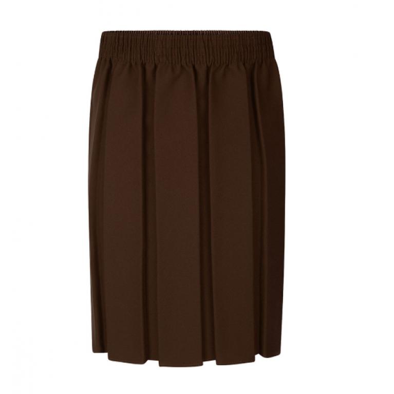 Girls Box Pleat Skirt in Brown