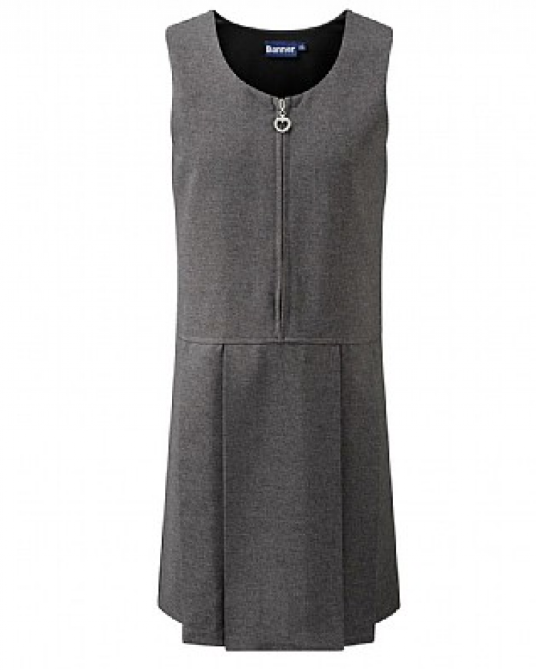 Grey Girls Pinafore with Heart Detail Zip