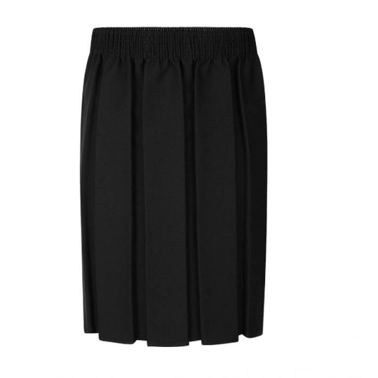 Girls Box Pleat Skirt in Black