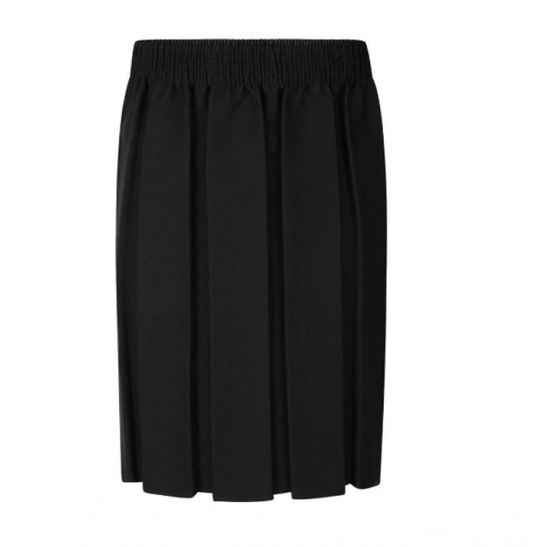 Girls Box Pleat Skirt in Black