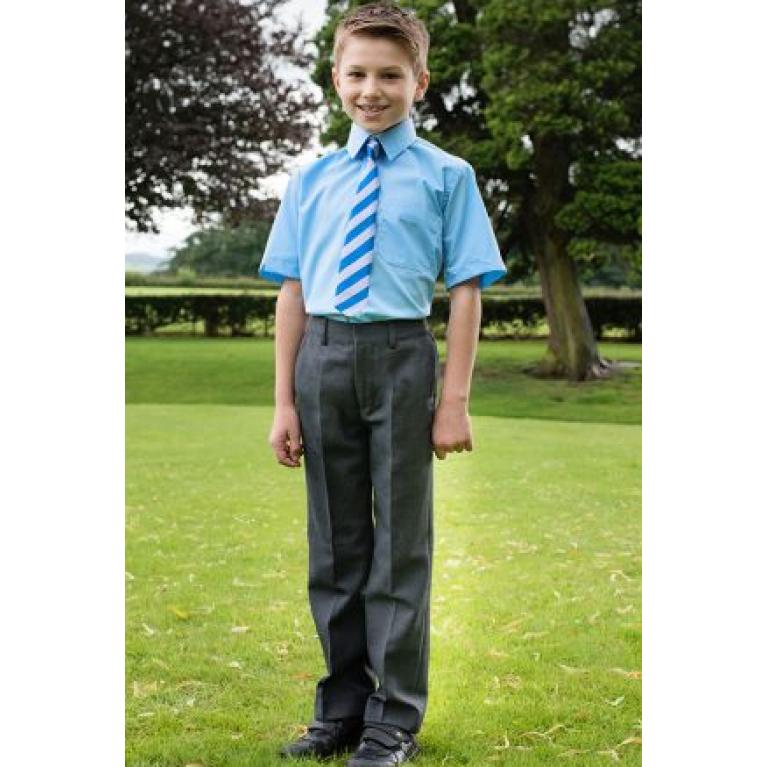 Grey Trutex Junior Boys Trousers  - Slim Fit