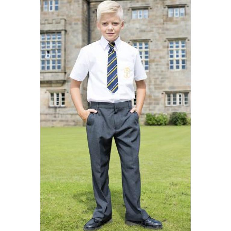 Grey Trutex Junior Boys Trousers - Sturdy Fit