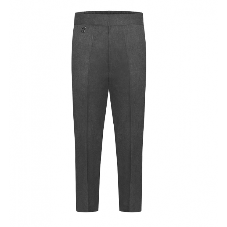 Boys Zeco Slim Fit Pull Up Trousers in Grey