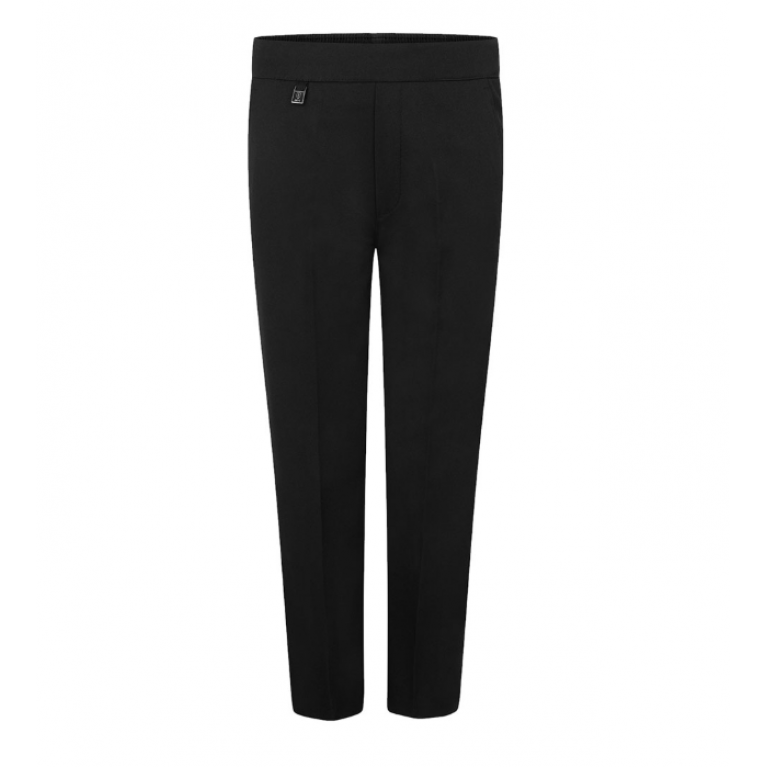 Boys Zeco Slim Fit Pull Up Trousers in Black