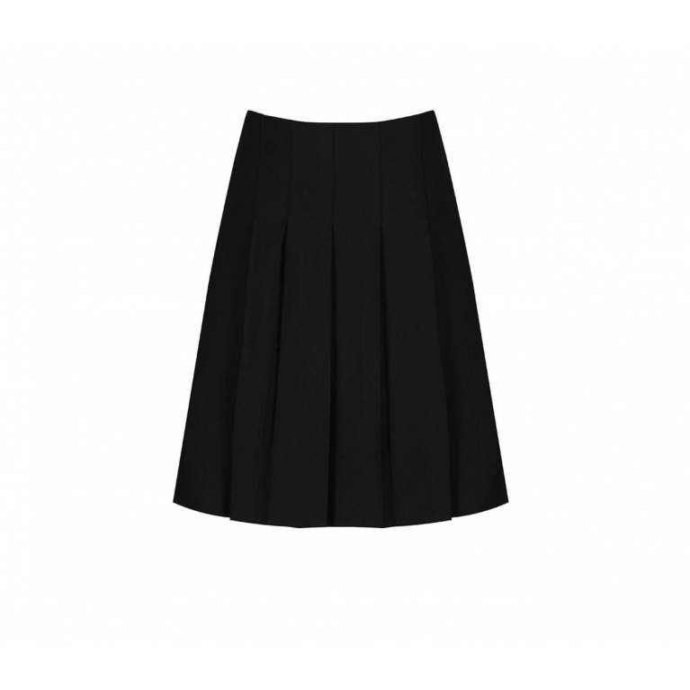 Junior Stitch Down Pleat Skirt in Black