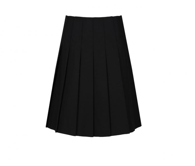 Senior Stitch Down Pleat Skirt in Black