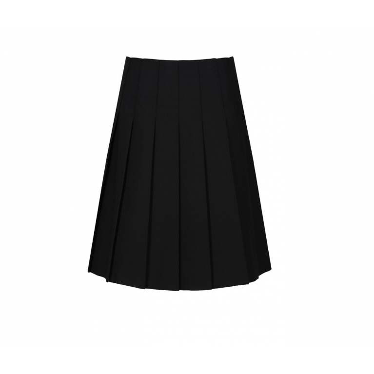 Senior Stitch Down Pleat Skirt in Black