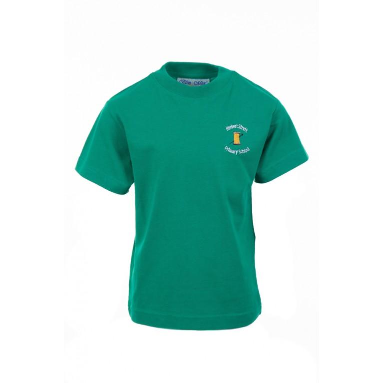 Green P.E T-shirt - with logo
