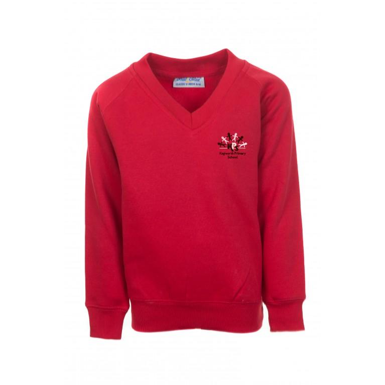 Red Classic V Neck Sweatshirt