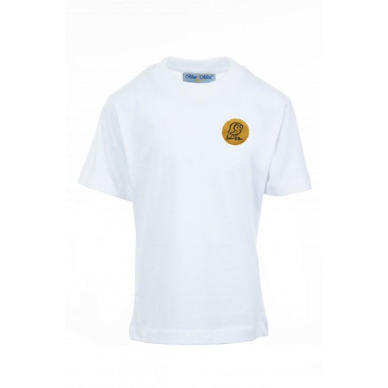 White P.E T-shirt - with logo