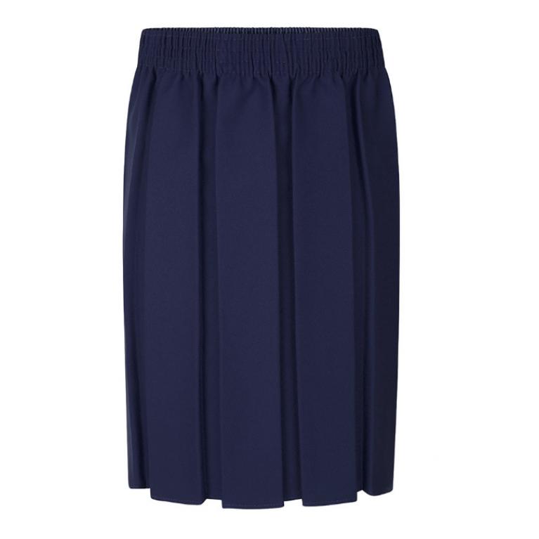 Girls Box Pleat Skirt in Navy