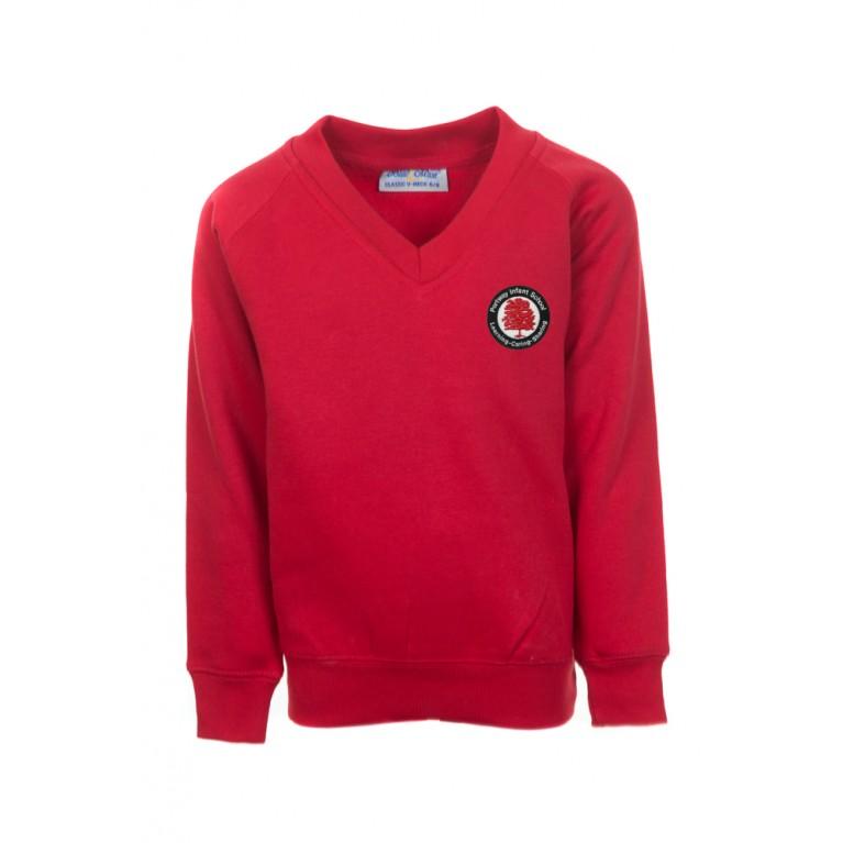 Red Classic V-Neck Sweatshirt