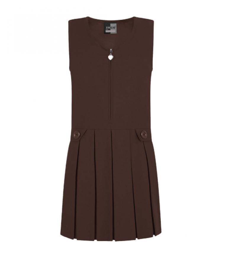 Girls Brown Pinafore with Heart Detail Zip